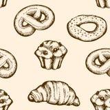 Modelo inconsútil de la panadería Fotografía de archivo libre de regalías