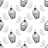 Modelo inconsútil de la panadería con la magdalena y el segmento del limón libre illustration
