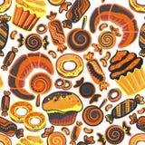 Modelo inconsútil de la panadería de la comida del vector con la repostería y pastelería Productos de la harina de la tienda de p Fotos de archivo libres de regalías