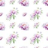 Modelo inconsútil de la peonía blanca hermosa Ramo de flores Textura floral Dibujo del marcador libre illustration