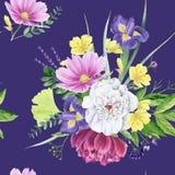 Modelo inconsútil de la peonía floral hermosa de la acuarela Fotos de archivo libres de regalías