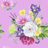 Modelo inconsútil de la peonía floral hermosa de la acuarela Imagen de archivo