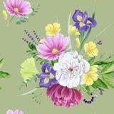 Modelo inconsútil de la peonía floral hermosa de la acuarela Foto de archivo libre de regalías