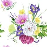 Modelo inconsútil de la peonía floral hermosa de la acuarela ilustración del vector