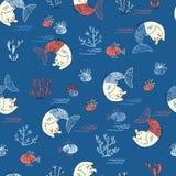 Modelo inconsútil de la pequeña sirena linda del gato Ilustración Textured Imagen de archivo libre de regalías