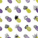 Modelo inconsútil de la piña Piña Handdrawn con diversas texturas en colores en colores pastel Fondo exótico de las frutas para ilustración del vector