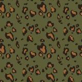 Modelo incons?til de la piel del leopardo en fondo verde Estampado de animales ilustración del vector