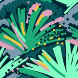 Modelo inconsútil de la pintura abstracta Estilo colorido de Memphis del fondo de la carta blanca Fondo tropical dibujado mano ilustración del vector