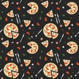 Modelo inconsútil de la pizza Ilustración del vector Imágenes de archivo libres de regalías