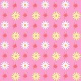 Modelo inconsútil de la primavera brillante de flores y de manchas blancas /negras Imagenes de archivo