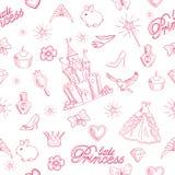 Modelo inconsútil de la princesa rosada ilustración del vector