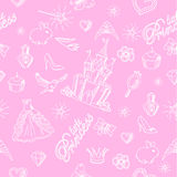 Modelo inconsútil de la princesa rosada stock de ilustración