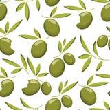 Modelo inconsútil de la rama de olivo verde Fondo natural de la comida Imagen de archivo libre de regalías