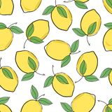 Modelo inconsútil de la repetición amarilla limón fresca linda del vector en un fondo blanco ilustración del vector