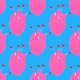 Modelo inconsútil de la repetición con el corazón rosado el órgano interno en el fondo azul, ejemplo del vector stock de ilustración