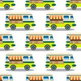 Modelo inconsútil de la repetición con el remolque con la comida, autobús en el fondo blanco, ejemplo del vector stock de ilustración