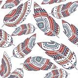 Modelo inconsútil de la repetición del vector de la pluma de Boho, ornamento tribal étnico, ejemplo detallado libre illustration
