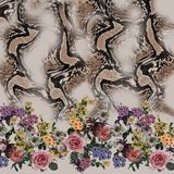 Modelo inconsútil de la serpiente de la mezcla de la flor foto de archivo libre de regalías