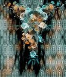 Modelo inconsútil de la serpiente de la mezcla de la flor imagen de archivo libre de regalías