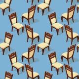 Modelo inconsútil de la silla isométrica de la historieta Frente y parte posterior stock de ilustración