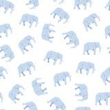 Modelo inconsútil de la silueta grande linda del elefante en blanco ilustración del vector