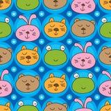 Modelo inconsútil de la simetría de la cabeza del conejo del oso de la rana del gato stock de ilustración