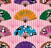 Modelo inconsútil de la simetría de la fan de la panda stock de ilustración