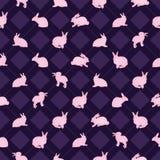 Modelo inconsútil de la simetría del diamante de la acuarela del conejo stock de ilustración