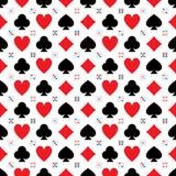 Modelo inconsútil de la simetría del icono del cubo de la tarjeta del póker ilustración del vector