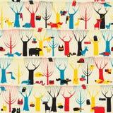 Modelo inconsútil de la tapicería de madera de los animales en colores modernistas Fotos de archivo libres de regalías