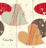 Modelo inconsútil de la tarjeta del día de San Valentín Fotos de archivo