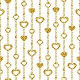 Modelo inconsútil de la tarjeta del día de San Valentín: decoración del oro con los corazones en un whi libre illustration