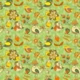 Modelo inconsútil de la textura de las flores y de los pájaros Foto de archivo