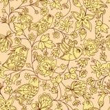 Modelo inconsútil de la textura de las flores y de los pájaros Imágenes de archivo libres de regalías