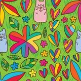 Modelo inconsútil de la tierra verde linda de la flor del gato Foto de archivo libre de regalías
