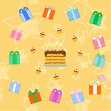 Modelo inconsútil de la torta de cumpleaños ilustración del vector