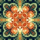 Modelo inconsútil de la trama en el modelo de mosaico psicodélico de la flor oriental del estilo para el papel pintado, fondos, d ilustración del vector