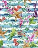 Modelo inconsútil de la vida marina de la acuarela con alga marina ilustración del vector