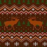 Modelo inconsútil de lana hecho punto invierno con los ciervos comunes y los árboles de navidad ilustración del vector