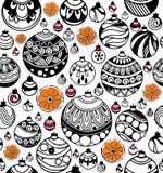 Modelo inconsútil de las bolas de la Navidad con las rebanadas de naranja en el fondo blanco Ilustración del Vector