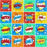 """Modelo inconsútil de las burbujas cómicas coloridas del discurso con frases: Â¡OMG! Â¡, PRISIONERO DE GUERRA! Â¡, EXPLOSIÃ""""N! ilustración del vector"""