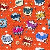 Modelo inconsútil de las burbujas de los tebeos en el estallido Art Style Imágenes de archivo libres de regalías