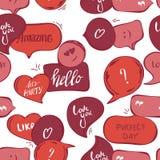 Modelo inconsútil de las burbujas rosadas del discurso Fondo del vector de burbujas rojas con palabra: hola, sorprendiendo, ámele ilustración del vector