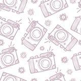Modelo inconsútil de las cámaras de la foto Fondo a mano Fotografía de archivo