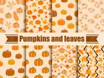Modelo inconsútil de las calabazas y de las hojas Colección de fondos del otoño Vector stock de ilustración