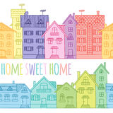 Modelo inconsútil de las casas coloreadas dibujadas a mano ilustración del vector