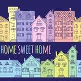 Modelo inconsútil de las casas coloreadas dibujadas a mano stock de ilustración