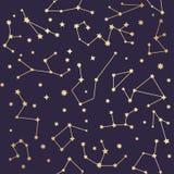 Modelo inconsútil de las constelaciones Estrellas de oro Illustrati del vector libre illustration