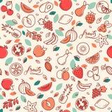 Modelo inconsútil de las diversas frutas del vector Fondo con los ejemplos de color de muchas frutas libre illustration