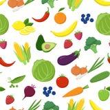 Modelo inconsútil de las diversas frutas y verduras aislado en el fondo blanco Comida fresca vegetariana en vector plano del dise libre illustration